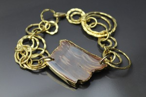 An agate and 18K Gold Foil Bracelet by Devon Leigh from our eBay store