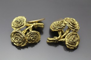 Antique Yellow Gold Giant Rose Bouquet Swivel backs