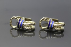 Vintage Designer 18K gold on Sterling Silver Blue Enamel Equestrian Ropes Swivel Backs