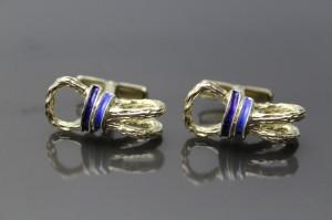 Vintage Designer 18K gold on Sterling Silver Blue Enamel Equestrian Ropes Swivel Backs
