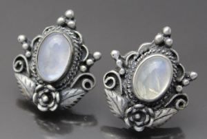 Moonstone Earrings Sterling Silver