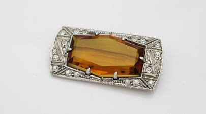 Art Deco Sterling Silver Amber Glass Brooch