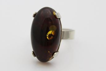 Dark Brown Baltic Amber Ring Look At It