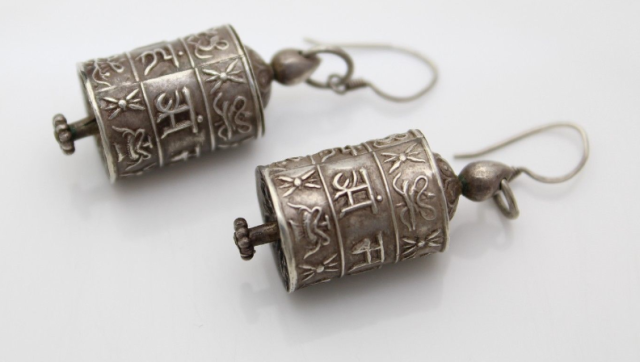 "Vintage Sterling Silver Asian ""Lantern"" Earrings"