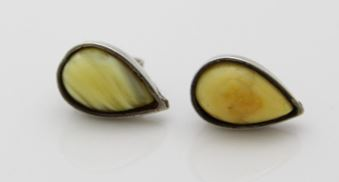 Stirated Butterscotch Amber Stud Earrings